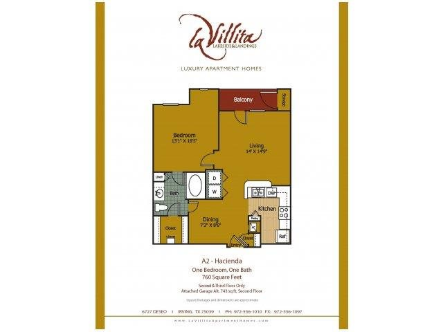 743 sq. ft. to 760 sq. ft. Hacienda floor plan