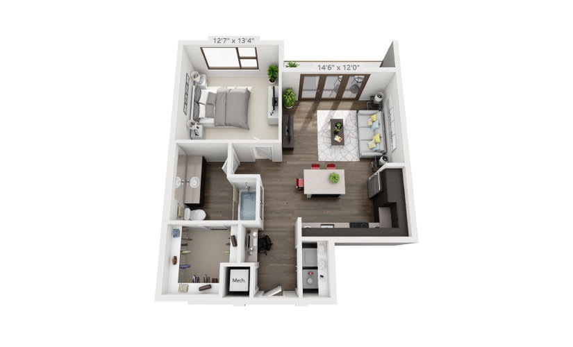 789 sq. ft. A5A floor plan