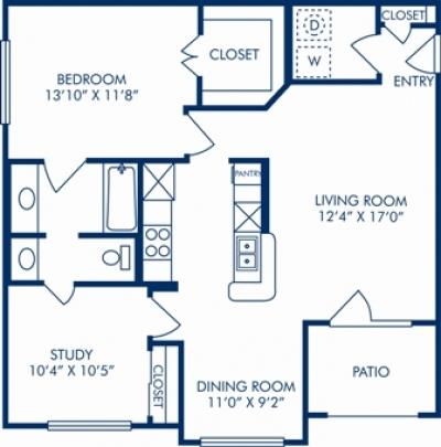 904 sq. ft. I floor plan