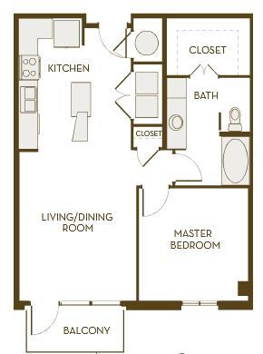 775 sq. ft. A1B floor plan