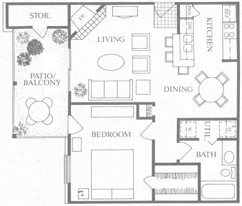708 sq. ft. B floor plan
