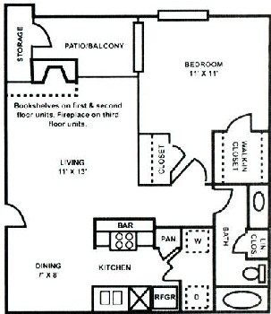 650 sq. ft. A-2 floor plan