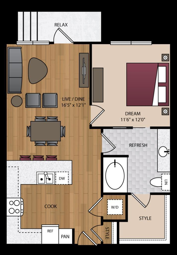 735 sq. ft. P-A2 floor plan