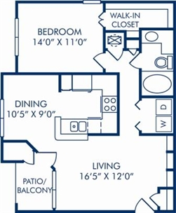 805 sq. ft. B floor plan