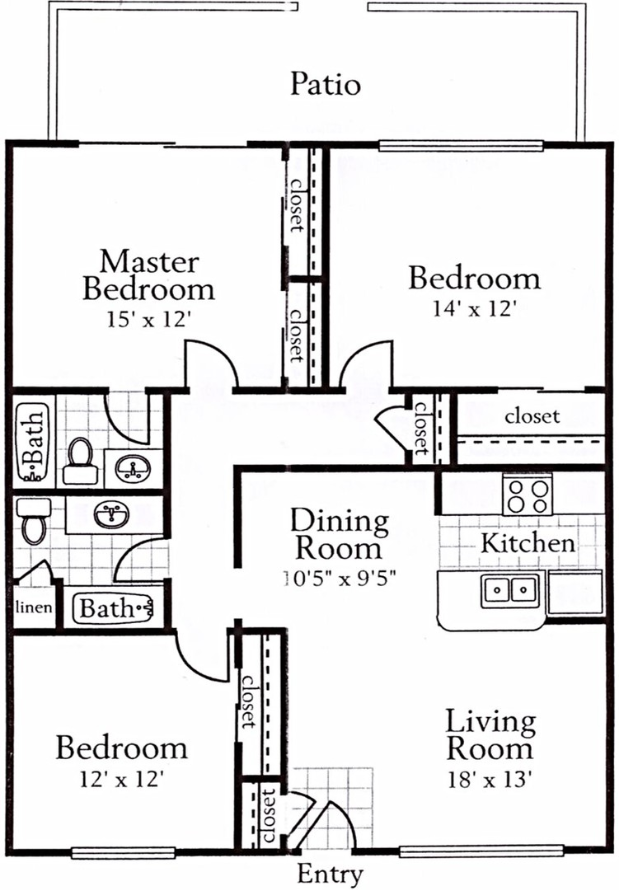 1,284 sq. ft. B5 floor plan