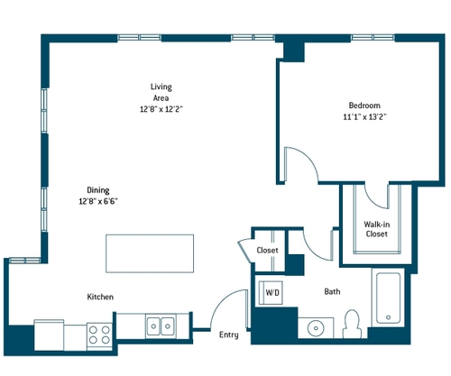 799 sq. ft. AH floor plan