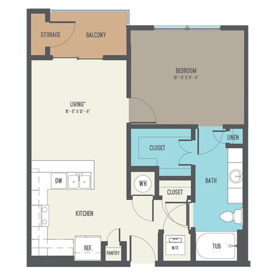 681 sq. ft. A4 floor plan