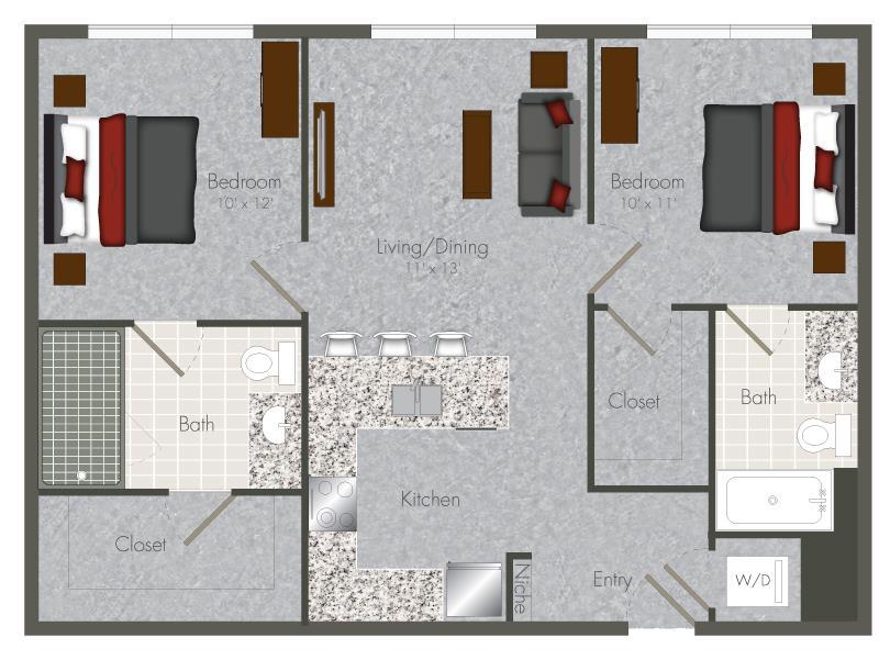 800 sq. ft. 2-X1 floor plan