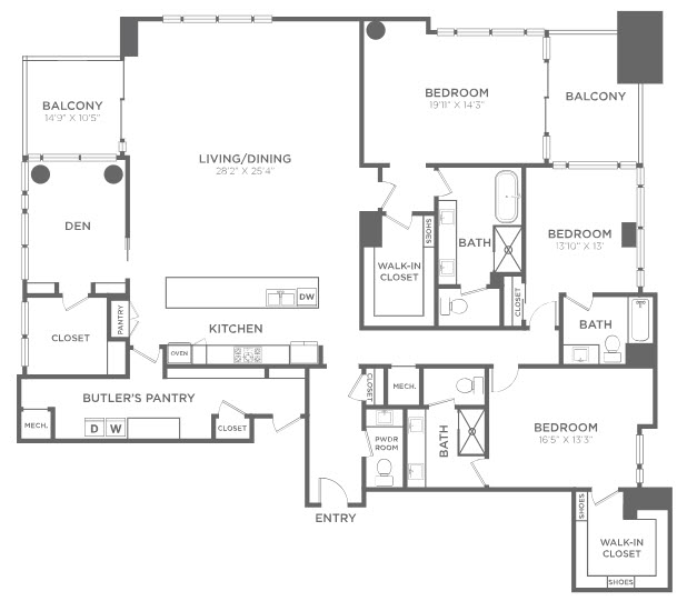 3,275 sq. ft. PH11 floor plan