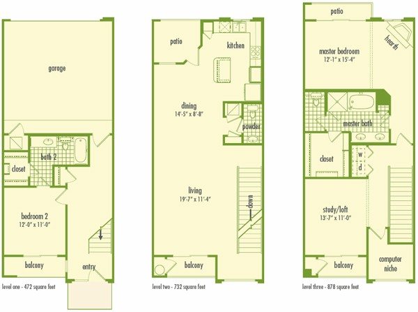 2,085 sq. ft. to 2,817 sq. ft. TOWNHOME floor plan