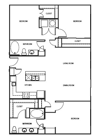 946 sq. ft. 2A7-1 floor plan