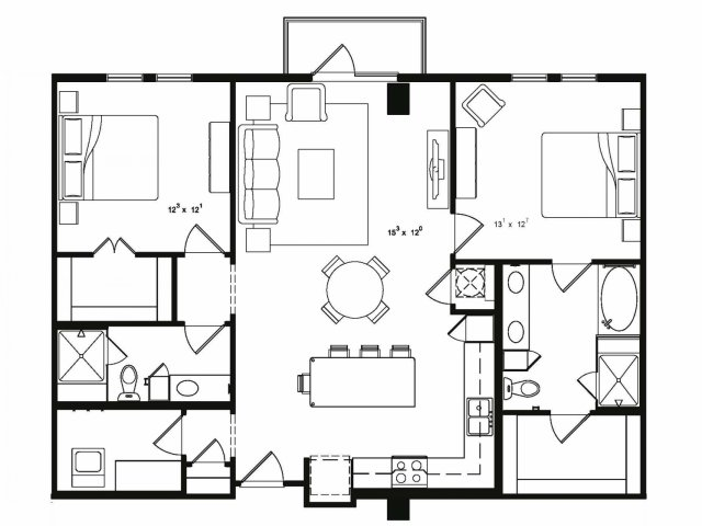 1,262 sq. ft. A8 floor plan