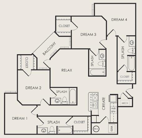 1,542 sq. ft. Venue floor plan