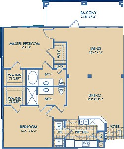 1,250 sq. ft. SORRENTO floor plan