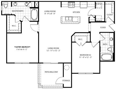 1,126 sq. ft. Monte Vista floor plan