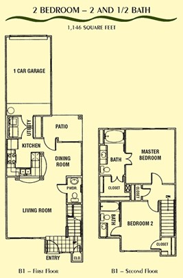 1,146 sq. ft. B1 floor plan