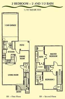 1,146 sq. ft. B1 floor plan