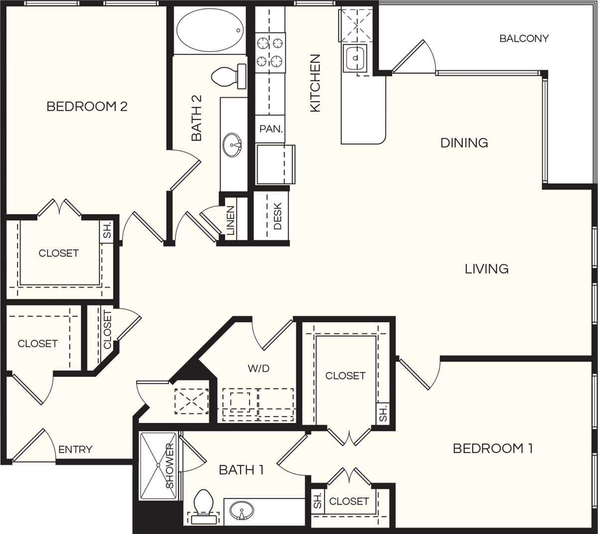 1,456 sq. ft. B4 floor plan