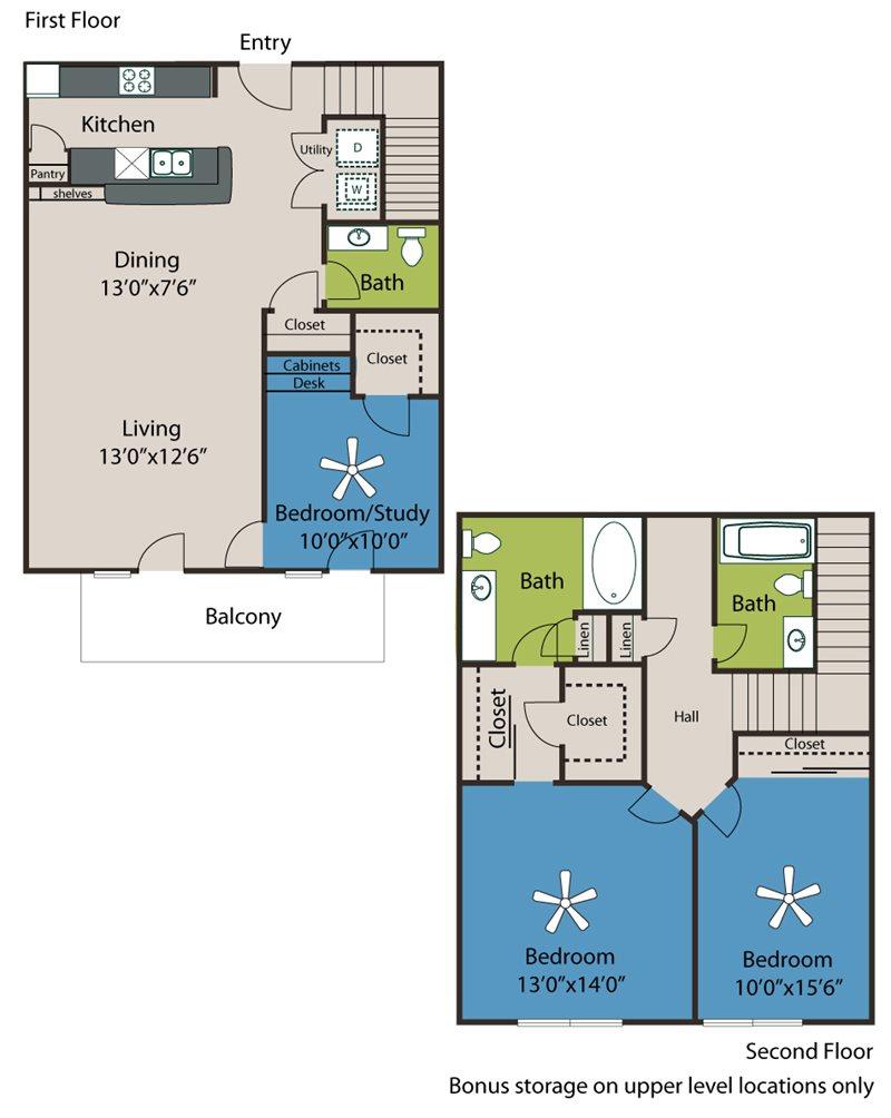 1,370 sq. ft. B4-TH floor plan