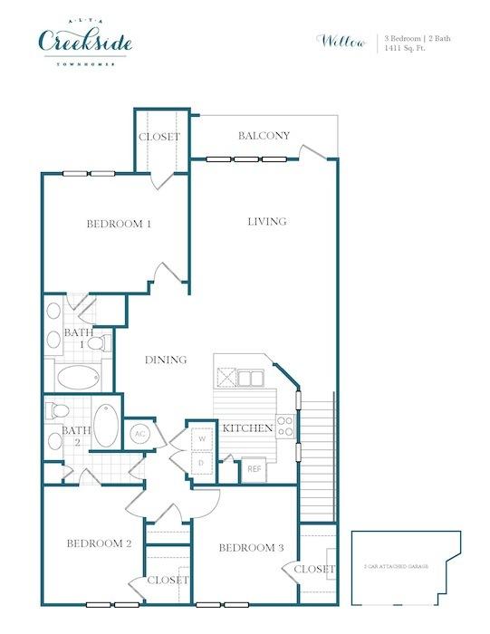 1,411 sq. ft. Willow floor plan