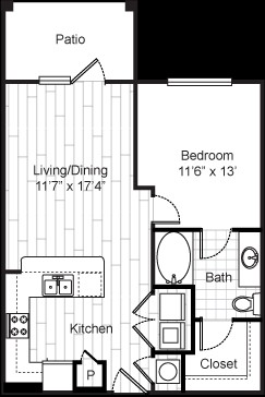 692 sq. ft. 11F1 floor plan