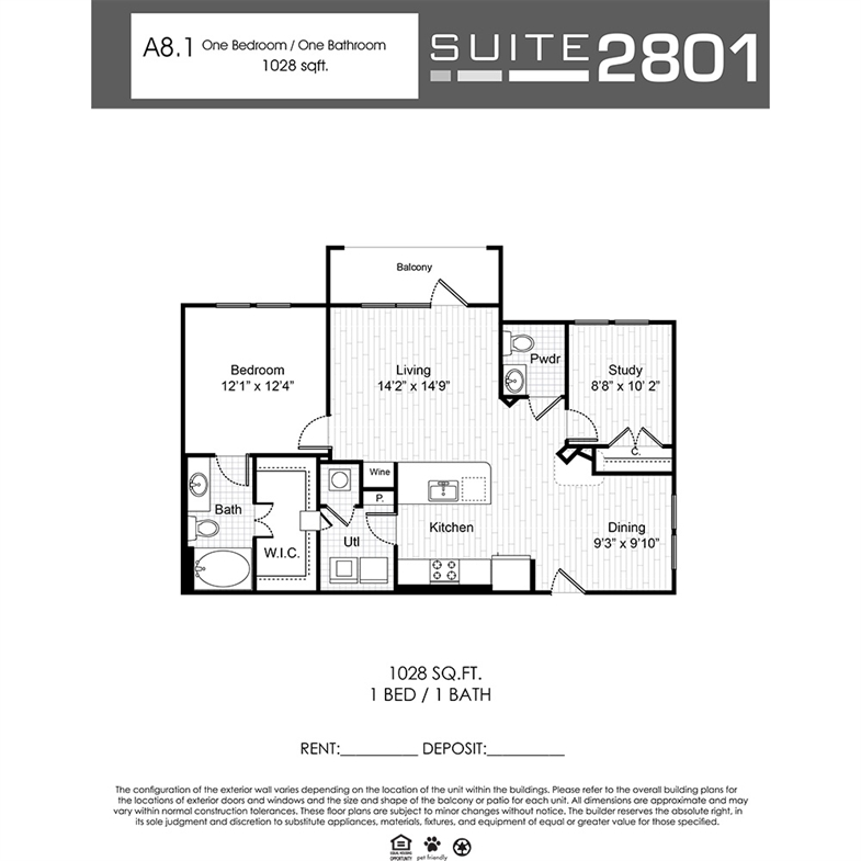 1,028 sq. ft. A8.1 floor plan