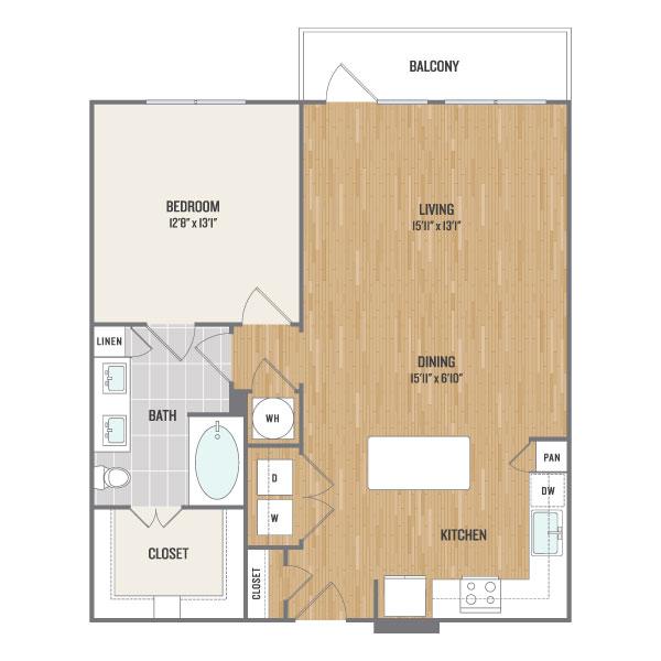 891 sq. ft. A13 floor plan