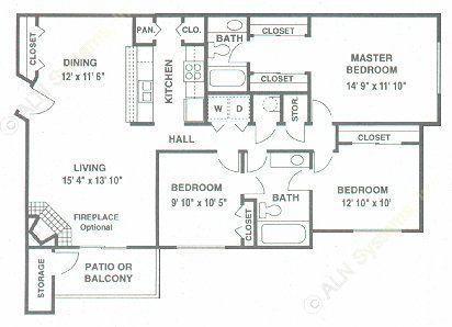 1,240 sq. ft. E floor plan