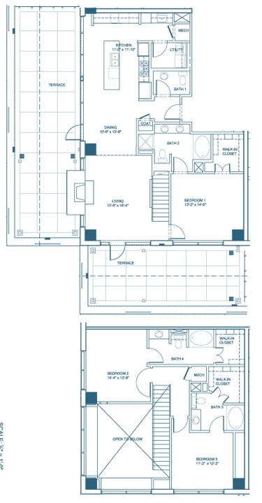 1,999 sq. ft. C2-Penthouse floor plan