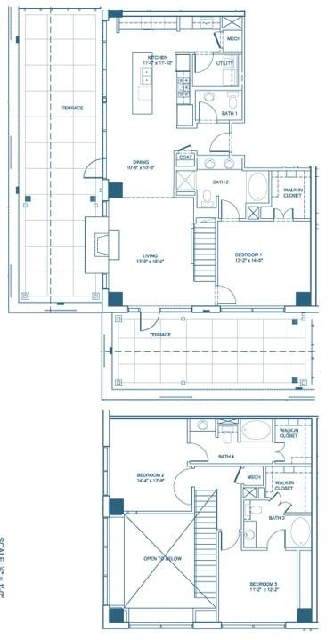 1,999 sq. ft. C2-Penthouse floor plan