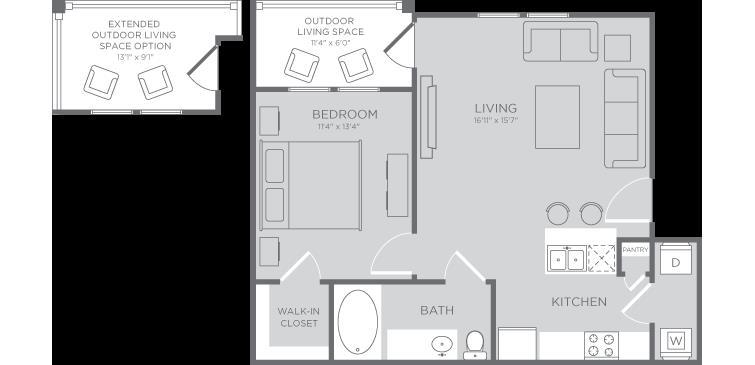 652 sq. ft. Angelfish floor plan