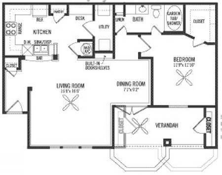 910 sq. ft. A1 floor plan