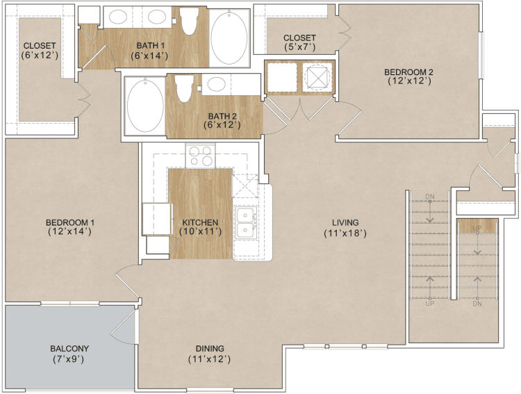 1,254 sq. ft. Nandina floor plan