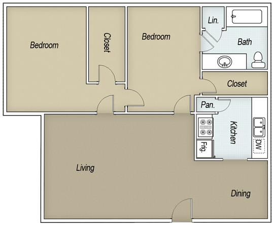 890 sq. ft. B1G floor plan