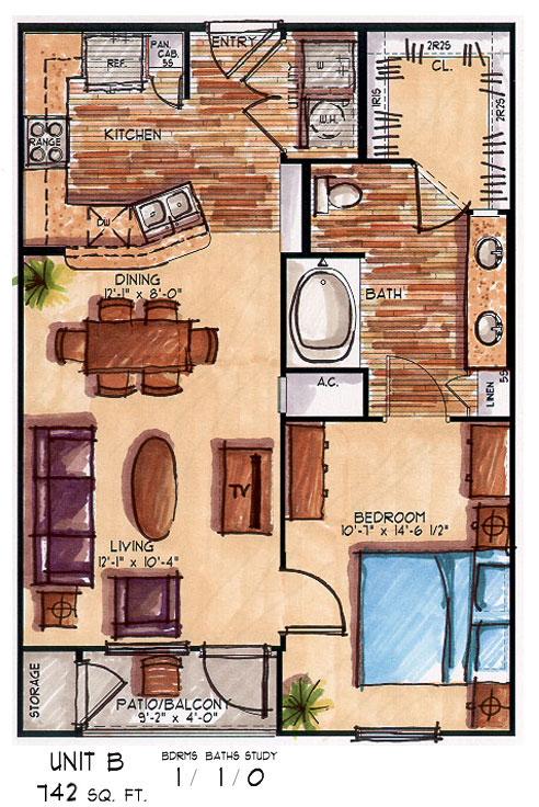 742 sq. ft. B floor plan