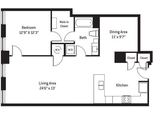 1,022 sq. ft. CA floor plan