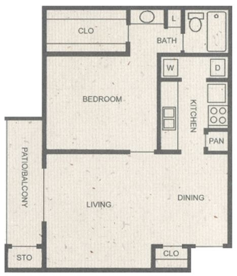 713 sq. ft. C floor plan