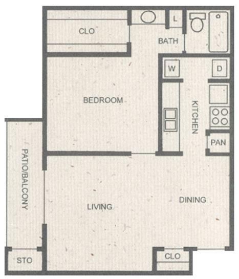 713 sq. ft. C floor plan