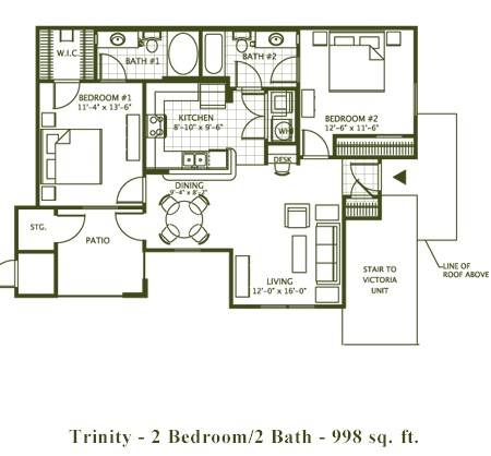 998 sq. ft. TRINTY floor plan