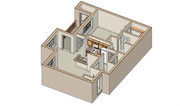 750 sq. ft. A/50% floor plan