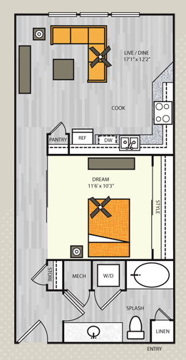 680 sq. ft. A1.1 floor plan
