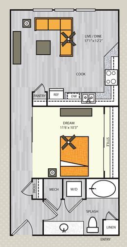 680 sq. ft. A1.1 floor plan