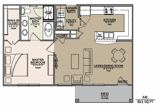 928 sq. ft. to 1,019 sq. ft. A8U/A8L floor plan