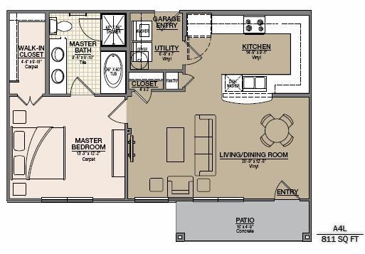 928 sq. ft. to 1,019 sq. ft. A8U/A8L floor plan