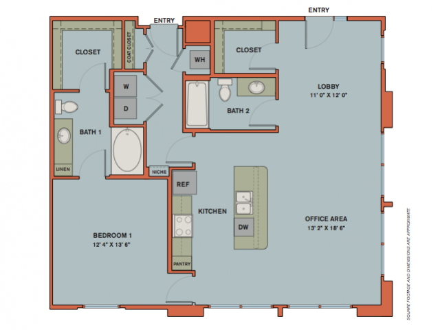 1,137 sq. ft. B3.1 floor plan