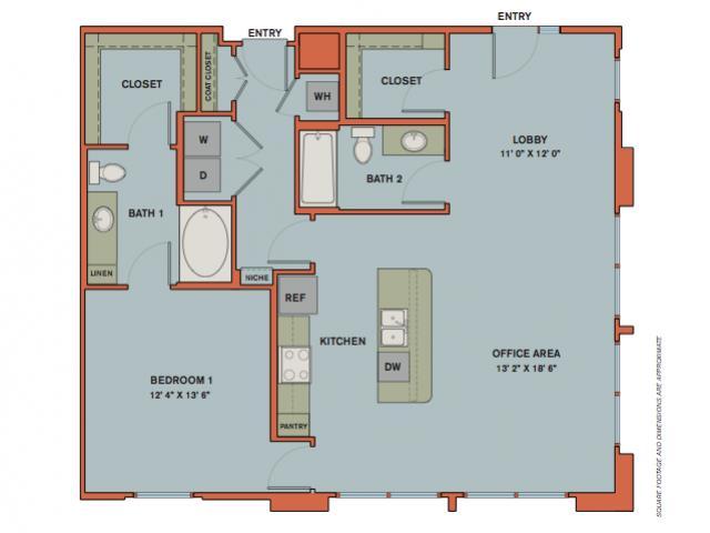 1,137 sq. ft. B3.1 floor plan