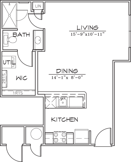 571 sq. ft. floor plan