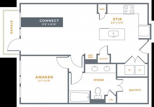 803 sq. ft. A3 floor plan