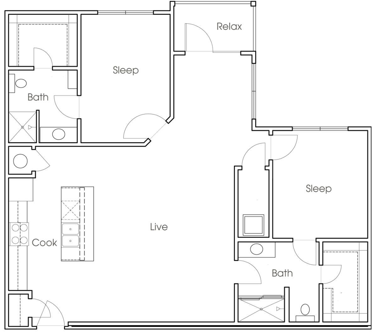 1,144 sq. ft. B4 floor plan