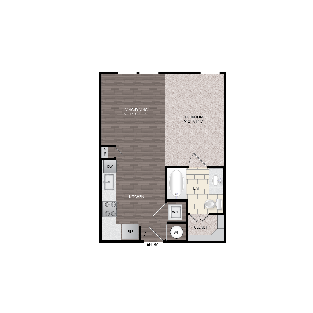 540 sq. ft. E2 floor plan